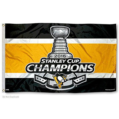 WinCraft Pittsburgh Penguins 2016 Stanley Cup Champs NHL Hissfahne (150x90) - Pittsburgh Penguins-flag