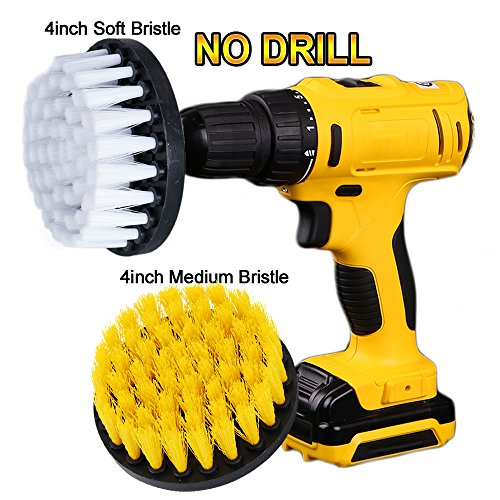 OxoxO 4in Drill Powered Cleaning Scrub Brush Attachment Kit Soft and Medium for Cleaning Pool Tile Flooring Brick Ceramic Marble Grout Glass Carpets upholstery - Variable Speed Cordless Drill