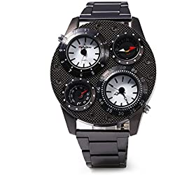 ULTNICE SHI WEI BAO Men Dual Time Display Quartz Wrist Watch with Stainless Steel Band