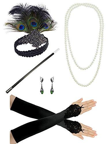 1920er Jahre Zubehör Stirnband Perlenkette Handschuhe Lady Charleston Fancy Flapper Kostüm Set