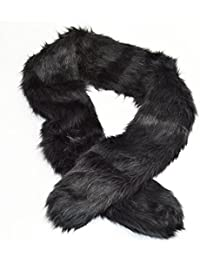New luxury thick soft Double sided Fuax fur scarf Collar Black