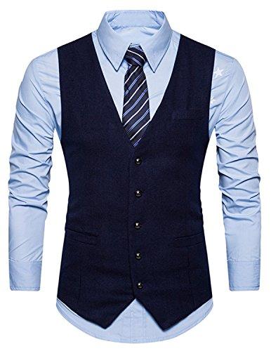 Boom Fashion Herren Anzugweste Einfarbig V-Ausschnitt Slim Fit Einreihige Knöpfe Vintage Business Weste Blau X-Large (Blazer Vintage Ein-knopf)