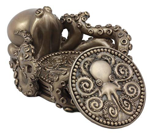 Ebros Bronze Finish Octopus Untersetzer Halterung und Vier Runde Untersetzer Set - Polyresin Bronze-finish