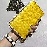 GUNAINDMX Geldbörse Geldbeutel Portemonnaie Damen Handgestrickte Lange Brieftasche Herren Clutch Zip Junge Männer Und Frauen Brieftaschen,Mango Gelb