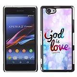 Bible Case Schutz Hülle Case Sony Xperia Z1 Compact / JOHN 4:16 GOD IS LOVE /