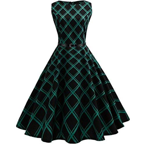 n Frauen Kleid kariert Taille jahrgang florale karierten ärmellose casual abend party kleid (XXL, Grün) (Mädchen In Karierten Mini-röcke)