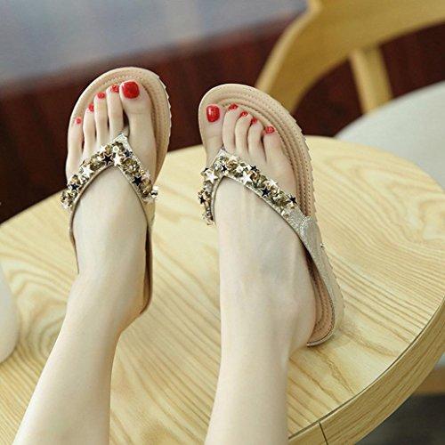 Sannysis Damen Boho Sandals Casual Beach Schuhe Gold