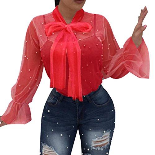 T-Shirt,Honestyi 2018 Neueste Modell Damen Perspective Net Garn Nagel Perlen Bluse Spitze Spleißen Mode V-Ausschnitt Oberteile Lange Ärmel Hemd Pullover Streetwear T-Shirt Tops (L, Rot)