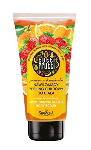 Lashuma Körperpeeling Tutti Frutti, Duschpeeling Erdbeere & Orange, Body Scrub zur Anwendung unter der Dusche, 210 g -