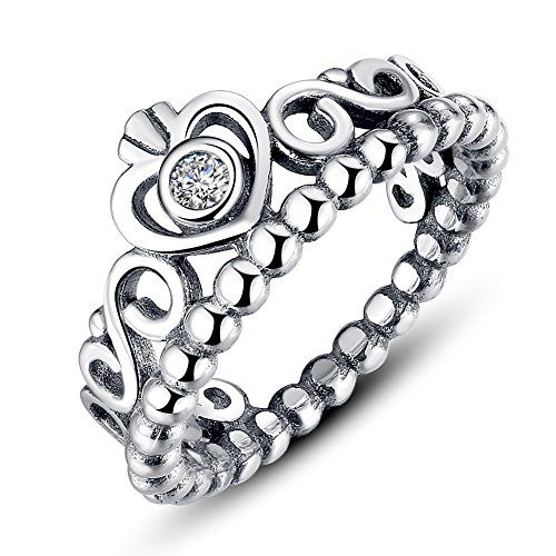 Presentski Platimum überzog Prinzessin Königin-Krone stapelbare Ring mit klaren Zirkonia (Ring Mit Krone)