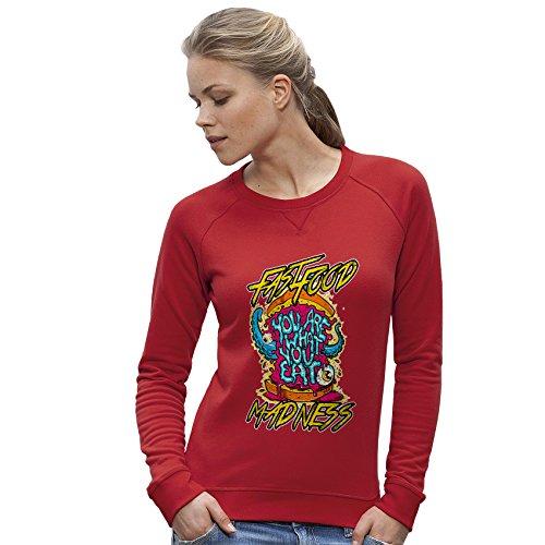 TWISTED ENVY Damen das Sweatshirt Fast Food Madness Print Small Rot