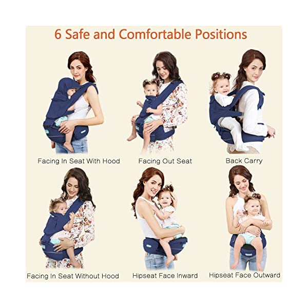 "Windsleeping Baby and Child Carrier Backpack 6-in-1 Detachable Natural Latex Carrier Sling with Hip Seat Suit for Newborn, Infant,Toddler,Kids - Dark Blue Windsleeping [Specification] - Size of the child carrier backpack is: L 29.4*H 27.3*W 19.2CM(11.5""*10.7""*7.5""). Weight: 1.05KG(2.31lbs). Max load-bearing: Up to 40 pounds/ 20Kg. Suitable 3-36 months age children [Breathable Natural Latex & Cotton] - Made of natural latex, breathable cotton, natural latex can inhibit bacteria and allergens effectively, Unique breathable pinhole design can dissipate body heat and moisture, make comfort for both you and baby [Portable Split Design & 6 Carrier Ways ] - The waist stool of the baby travel carrier could be detached from upper strap, makes the waist stool can be used independently, can easily use when traveling. More than 6 ways to carrier: front inward, front outward, hip or back carry 3"