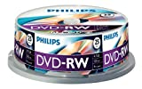 Philips DVD-RW Rohlinge (4.7 GB Data/120 Minuten Video, 1-4x Speed Aufnahme, 25er Spindel)