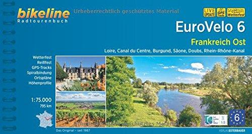 Karte Burgund Frankreich (Eurovelo 6 Frankreich Ost: Loire, Canal du Centre, Burgund, Sâone, Doubs, Rhein-Rhône-Kanal, 795 km (Bikeline Radtourenbücher))