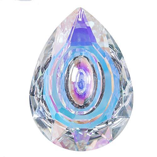 H&D Kristall Loquat Form hängen Tropfen Anhänger AB Farbe Glas Bunte Kronleuchter Lampe Prismen,88mm ... - Kristall Hängen Anhänger