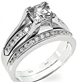 BestToHave '' 925 Sterling Silver '' With Simulated Diamonds Luxury Affordable Princess Cut Ring with Half Eternity Channel Band Wedding Engagement Bridal Ring Set