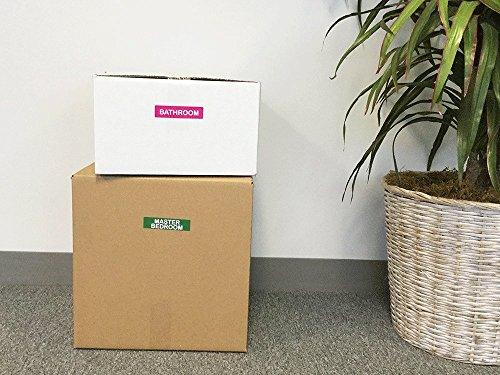 Movimiento Empaque Caja Pegatinas, 25 x 102 mm 1 x 4 Pulgadas Rectángulo, 10 Hojas de 15 Pegatinas, 150 Etiquetas Totales