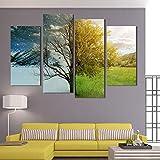 FYBSNDY 4 Panel Malerei Abstrakte Landschaft Leinwand Bild Wandkunst Gemaltes Plakat Herbst Winter Baum Wohnkultur Wohnzimmer 30x60cmx2 30x80cmx2 ohne Rahmen