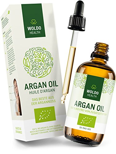 WoldoHealth Olio di Argan puro al 100% antiossidanti Adatto per capelli pelle corpo e unghie 100ml