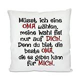Herzbotschaft Kissen mit Motiv Modell: Müsst Ich Eine Oma Wählen. , Stoff, Weiß, 45 x 45 x 10 cm