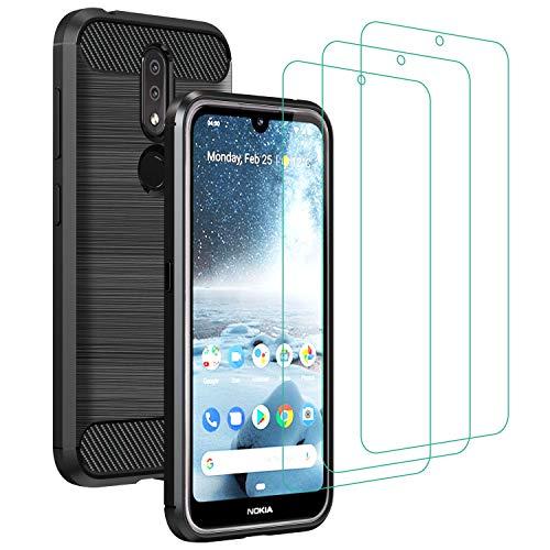 ivoler Coque pour Nokia 4.2 + 3X Protecteur D'écran en Verre Trempé, Fibre de Carbone Silicone Souple TPU Housse Etui Coque de Protection avec Anti-Choc et Anti-Rayure - Noir