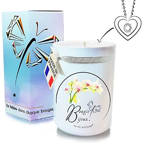 AG ArtGosse - Vela de Joyas Little 170 ml, orquídea Blanca con Cristal de Swarovski. Perfume de Grasa y Mecha de Madera. La Joya Oculta se desvela después de 30 Minutos. Caja de Regalo Colgante.