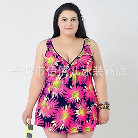 Sport Tent-Dames de taille plus lumineux maillot de bain imprimé rétro split vacances jupes natation , white flowers , 4xl