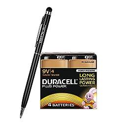 Duracell Plus Power 9V Batteries Long Lasting 6LR61 MN1604 PP3 Alkaline Battery (4 Pack) + 1x iSOUL Black Stylus Touch Ball Pen from Duracell + iSOUL