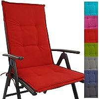 Cojín respaldo para sillas de jardín Tino 118 x 50 x 5,5 cm repelente al agua y a la suciedad - Cómodos cojines con respaldo acolchados y cinta elástica iderales para exteriores, Color:Rojo