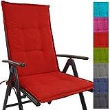 Hochlehner Auflage Outdoor 118 x 50 x 5,5 cm Schmutz- und wasserabweisendes Sitzkissen & Rückenkissen bequem gepolsterte Gartenstuhlauflage mit Gummiband, Farbe:Rot