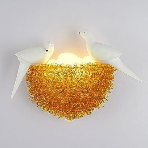 LED kreative Vogel Nest Wand Lampe Vogel Nest Nest dekoriert Licht Kinderzimmer Restaurant Schlafzimmer Studie Wandleuchten ( Farbe : Gold-5 egg )