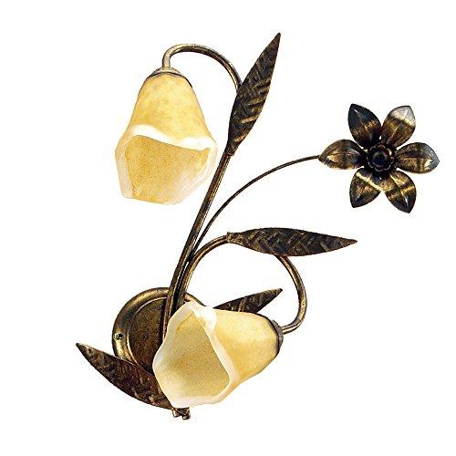 Onli Alga lámpara de pared 2luces de metal dorado y cristales suman Sharma, marrón