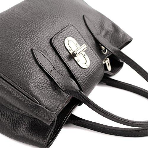 modamoda de - ital. Ledertasche Damentasche Handtasche kleine Tragetasche Leder Klein TL03 Glattleder Dunkelbraun