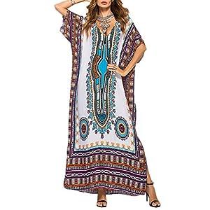 LAIKETE Copricostume Mare Donna Vestito Lungo Estate Boho Hippie Allacciato Kaftan Tunica Etnica Kimono Abito da… 1 spesavip