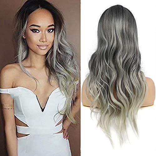 Parrucca grigia donna sintetica vébonnie parrucche ondulata lunga fibra resistente al calore