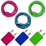3x USB Netzteil 5V/1A + 3x 2m Nylon Micro USB Ladekabel Datenkabel SET kompatibel mit [Universal, Handy, Tablet, Smartphone, Samsung Galaxy, HTC, Nokia, Sony, LG, Nexus, und viele mehr...] blau + grün + pink