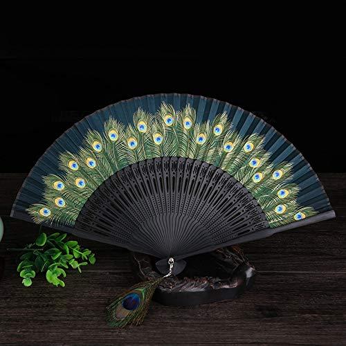 Folding Fan Seide Natural Bamboo Klassische Japanische Geschenk Peacock Ventilator Handwerk Ventilator Dekoration Dance Party Frau Sommer Kühl Portable Täglichen Ventilator Dunkelgrün