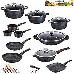 Kamberg - 0008162 - Set Lot Batterie de cuisine 27 pièces - Fonte d'aluminium - Revêtement pierre - Tous feux dont induction - Manche amovible -Sans PFOA