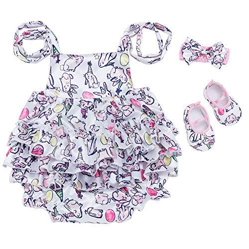 y DREI Stücke Set,Kinder Kostüm Cartoon Animal Print Laterne Sling Bodysuit Overall + Haarband + EIN Paar Schuhe Romper Party Wear Ostergeschenk Festliche Kleider 3-12M(Blau,73) ()