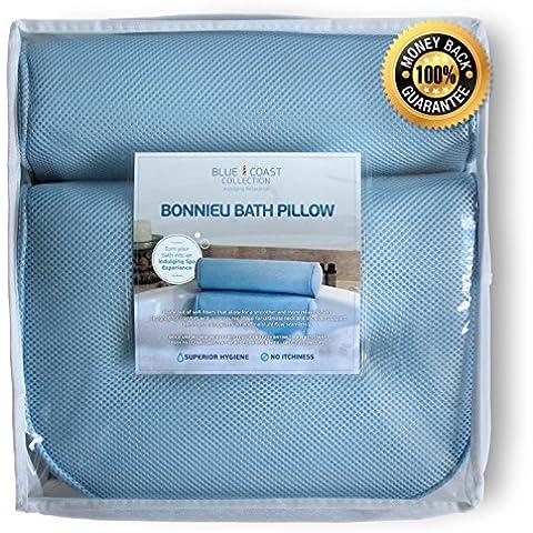 Almohada Premium para bañera. El Bonnieu Bath Pillow es un cojín reposacabezas para la bañera, jacuzzi, spa e hidromasaje. Diseñado para un confort superior con texturas suaves que resiste hongos y moho, de fácil limpieza y secado rápido. ¡Disfrute hoy de un baño más relajante!