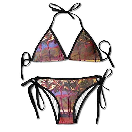 FDJKHY Personalized Women Bikini-Red Trees Swimsuit Beachwear