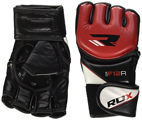 RDX MMA Handschuhe UFC Kampfsport Sparring Freefight Trainingshandschuhe Grappling Sandsack Gloves, Rot, M