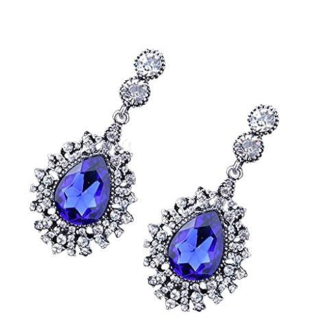 Gazechimp Frauen Ethnischen Baumeln Ohrringe Kristalle Tropfen Ohrringe Mode Ohrstecker - Blau