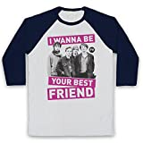 Inspired Apparel Inspiriert durch Palma Violets Best of Friends Inoffiziell 3/4 Hulse Retro Baseball T-Shirt, Weiß & Ultramarinblau, 2XL