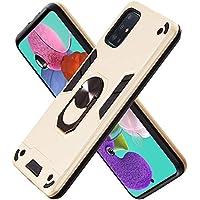 Funda para Samsung Galaxy A51 Soft TPU + Duro PC Doble Parachoques Cubierta a Anillo Soporte con Soporte y Carcasa Desmontable, Funda Protectora Serie Armadura (Dorado)