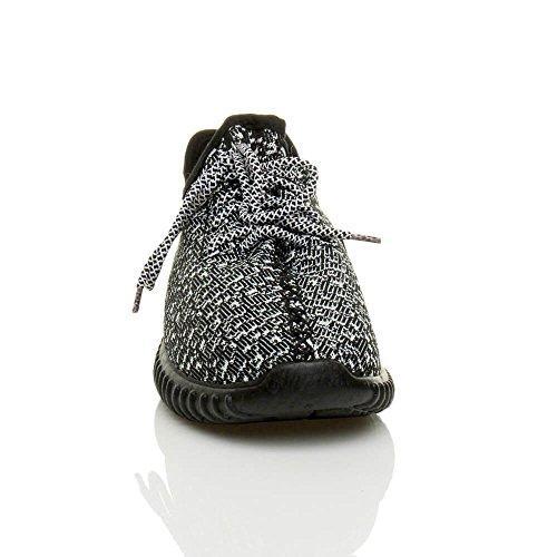 Herren Damen Unisex Laufschuhe Profilsohle Sportschuhe Schnüren Sneakers Freizeitschuhe Größe Schwarz / Weiß