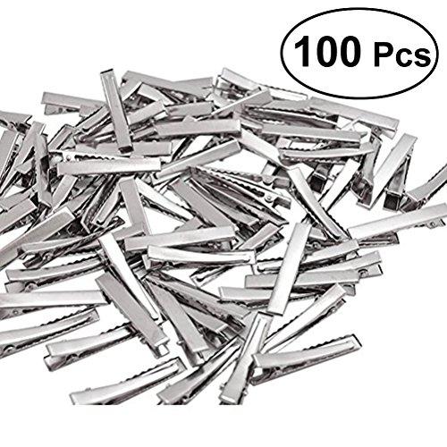 frcolor 100Stück silber Ton Haarspange blanko Haar Clips ideal für DIY Haar Bögen Perlen Schmuckherstellung (100x 4,5cm) Silber Haar-clips