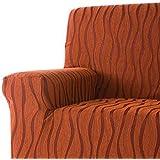 DECORACION NUEVO ESTILO- Funda de sofá AMBROZ en tejido elástico, tamaño Orejero color 82 Burdeos-Naranja (varios colores y medidas)