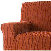 DECORACION NUEVO ESTILO- Funda de sofá AMBROZ en tejido elástico, tamaño 3 plazas 170 a 210 cms. color 82 Burdeos-Naranja (varios colores y medidas)
