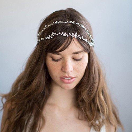Realizzato a mano da sposa di capelli pezzi 3D a forma di fiore con cristalli, DHE03